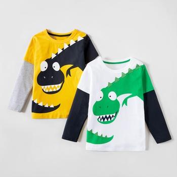 Colorblock Dinosaur Print Long-sleeve Tee For Boys