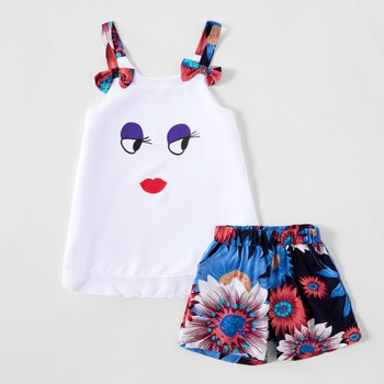 2-piece Trendy Cartoon Print Tank and Flower Shorts Set