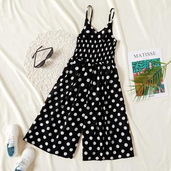 Trendy Polka Dots Suspender Pants