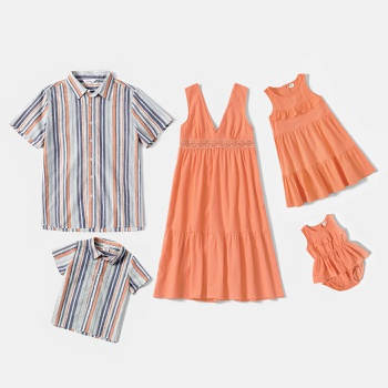 Mosaic Casual Orange Series Sets(V-neck Dresses - Stripe  Button Front Shirts - Rompers)
