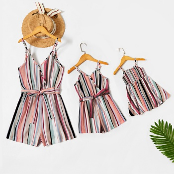 Stripe Print Matching Suspender Rompers for Mommy and Me