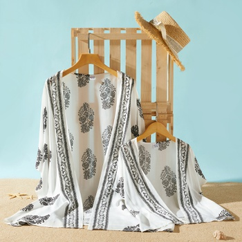 Leaf Print Batwing Kimono Cover Ups for Mommy and Me