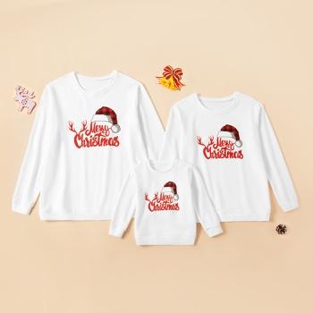 Merry Christmas Series Family Matching White Cotton Sweatshirts