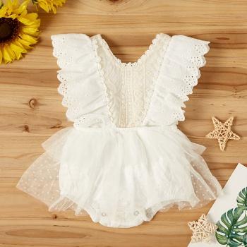 Baby Flounced Lace Decor Bodysuit