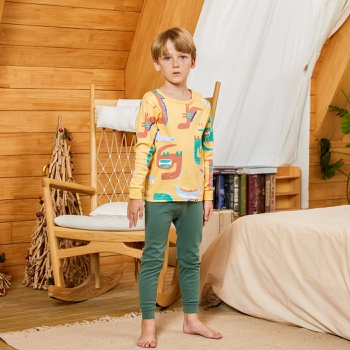 Fashionable Cartoon Dinosaur Print Allover Long-sleeve Tee and Solid Pants Set