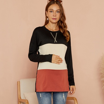 Maternity Round collar Color Block Positioning print T-shirt