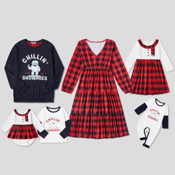 Mosaic Christmas Snowman Print Family Matching  Sets(Plaid V-neck Dresses - Sweatshirts - Rompers)
