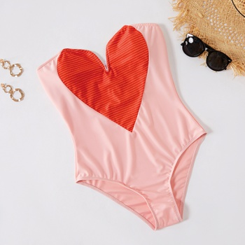 1pcs Heart-shaped Color block Pink One-piece Swimsuit