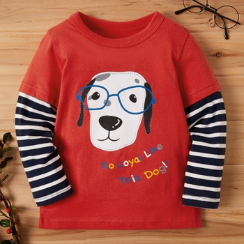 Baby / Toddler Boy Animal Letter Print Striped Long-sleeve Tee