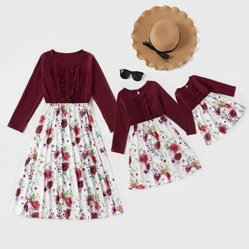 Mommy and Me Floral Print Stitching Solid Long-sleeve Dresses