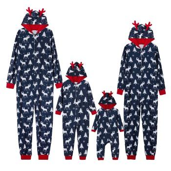 Mosaic Family Matching Moose Print Christmas Hooded Onesies Pajamas (Flame Resistant)