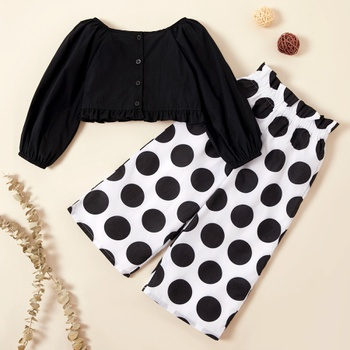 Fashionable Solid Top and Polka Dots Pants Set