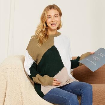Maternity Round collar Color Block Color block Multi-color Sweater