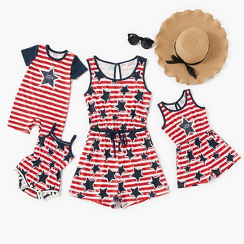 Independence Day Stripe Stars Tank Rompers for Mom-Baby-Kids