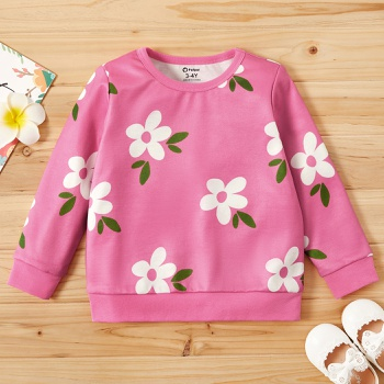 Toddler Girl Cutie Floral Long-sleeve Pullover