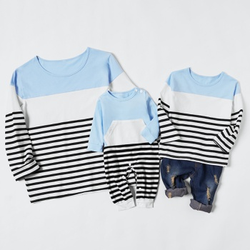 100% Cotton Striped Color Block Sweatshirts for Mom and Me