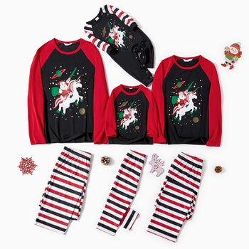 Family Matching Santa Riding Unicorn Print Striped Christmas Pajamas Sets (Flame Resistant)