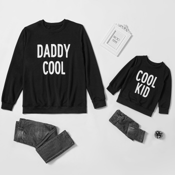Letter Print Black Sweatshirts for Dad and Me