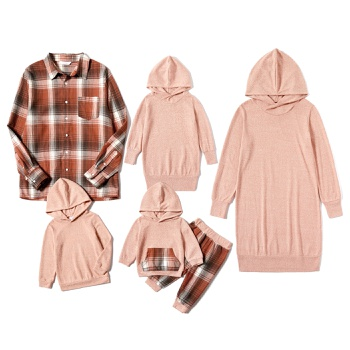 Mosaic Family Matching Light Color Series Sets(Solid Hoodies Dresses - Plaid Button Front Shirts - Rompers)