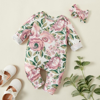 2-piece Baby Floral Allover Long-sleeve Jumpsuit and Headband Set