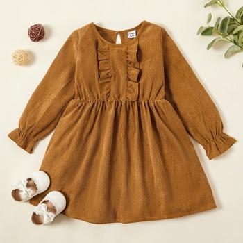 Toddler Girl Solid Ruffled Long-sleeve Dress
