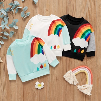 1pc Baby Unisex Long-sleeve Cotton casual Rainbow Pullovers & Hoodies
