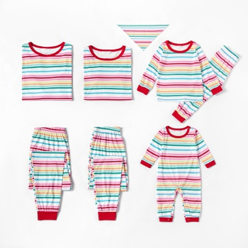 Family Matching Colorful Stripe Christmas Pajamas Sets (Flame Resistant)