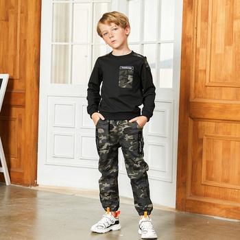 Trendy Camouflage Pocket Sweatshirt and Pants Sets