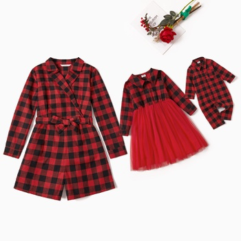 Mommy and Me Plaid Mesh Long-sleeve Rompers