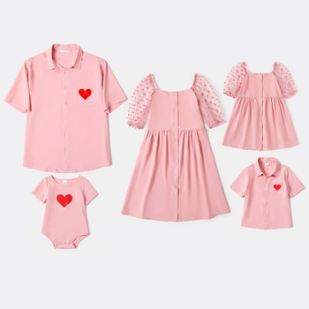 Valentine's Day Love Pink Print Family Matching Sets