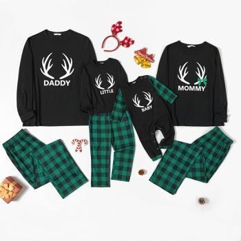 Family Matching Antler Print Green Plaid Christmas Pajamas Sets (Flame Resistant)