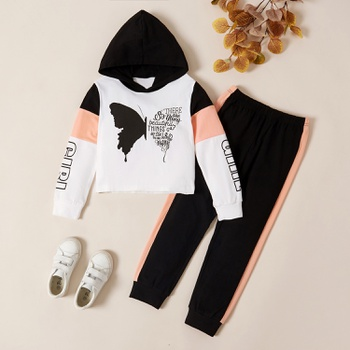 Trendy Butterfly Print Letter Hooded Sweatshirt and Pants Set