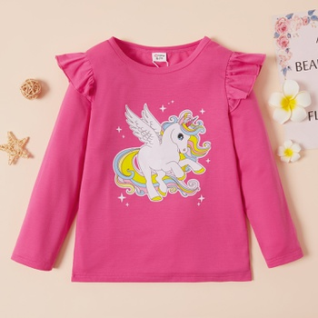 Trendy Unicorn Print Ruffled Longsleeves Tee