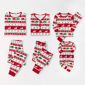 Mosaic Family Matching Christmas Deer Pajamas Set for Dad - Mom - Kids - Baby (Flame Resistant)