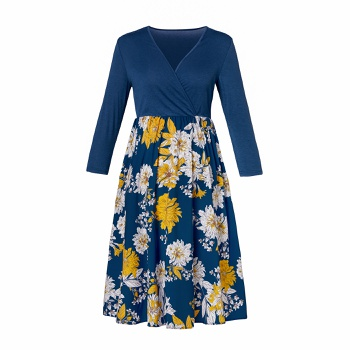 Stylish Floral Print Long-sleeve V-neck Nursing Dress
