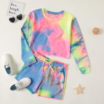 Kid Girl Tie Dye Sweatshirt and Shorts Set