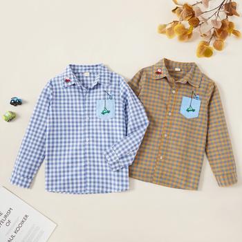 Stylish Car Embroidered Pocket Plaid Lapel Collar Shirt