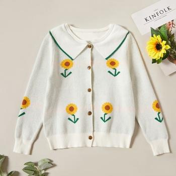 Pretty Sunflower Print Lapel Collar Button Sweater