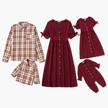 Mosaic 100% Cotton Festive Series Family Matching Sets(V-neck Red Dresses - Rompers - Plaid Button Front Shirts)