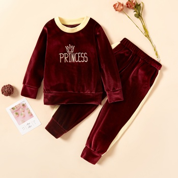2-piece Baby / Toddler Letter Fleece Long-sleeve Pullover and Pants Set