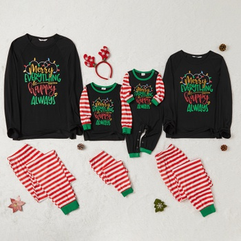 Family Matching ' Merry Everything Happy Always ' Striped Christmas Pajamas Sets (Flame Resistant)