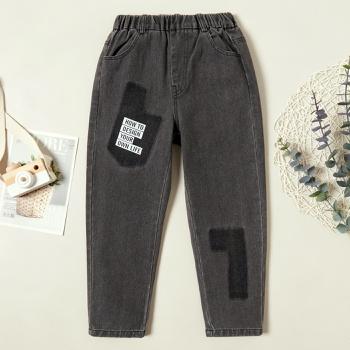 Fashionable Letter Print Denim Patchwork Jeans