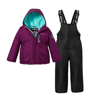 2-piece Toddler Waterproof Hooded Jacket and Snow Bib Ski Suit