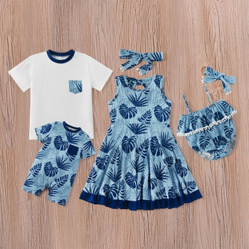 Mosaic Summer New Family Matching - Sibling Leaf Pattern Dresses Tee Romper for Girl - Boy - Baby