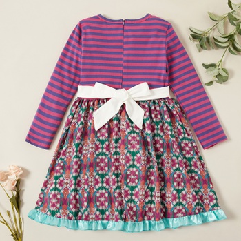 Trendy Bohemia Striped Bowknot Floral Allover Print Long-sleeve Dress