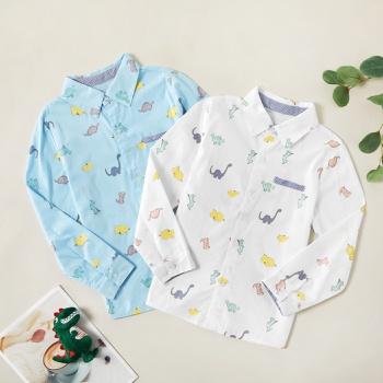 Fashionable Cartoon Dinosaur Allover Print Lapel Collar Button Shirt