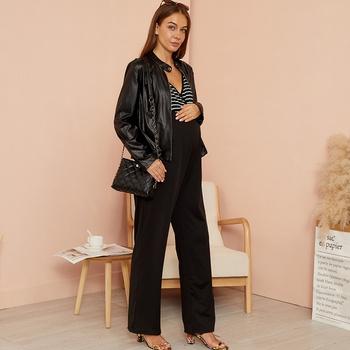 Maternity casual Stripes full print Black Jumpsuits