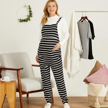 Maternity casual Stripes full print Black/White Suspender pants