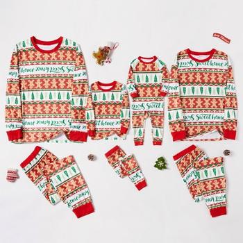 Family Matching Gingerbread Man Print Christmas Pajamas Sets