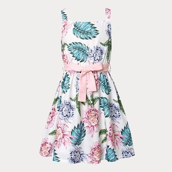 Kids Girl Floral Bowknot Off Shoulder Dress
